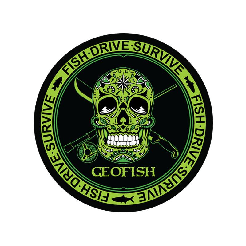 Skull sticker green motiv fishing